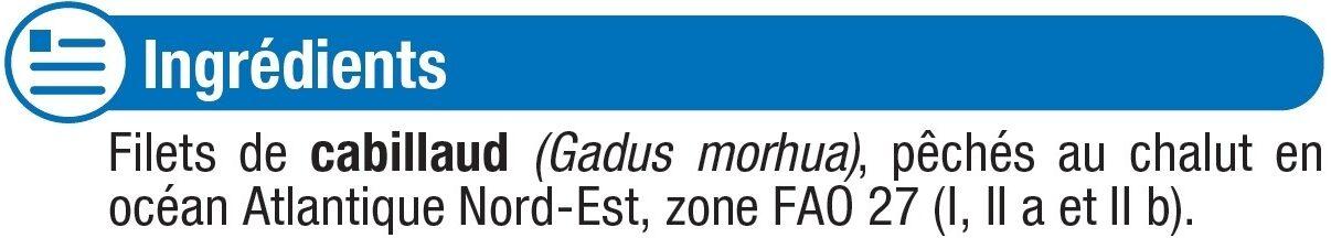Filet de cabillaud pêché en océan Atlantique MSC - Ingrédients - fr