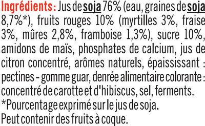 Spécialité au soja sucré fruits rouges - Ingrédients