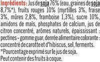 Spécialité au soja sucré aux fruits rouges - Ingrédients - fr