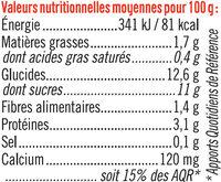 Spécialité au soja sucré fruits rouges - Informations nutritionnelles