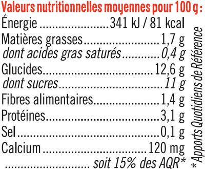 Spécialité au soja sucré aux fruits rouges - Informations nutritionnelles - fr