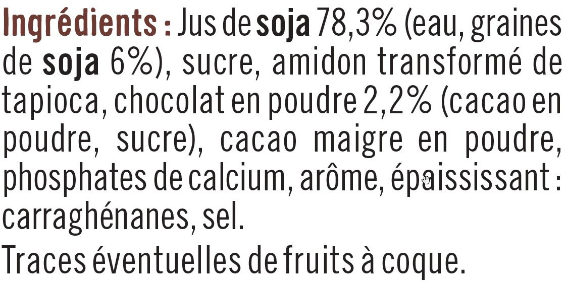 Spécialité dessert de soja au chocolat - Ingredienti - fr
