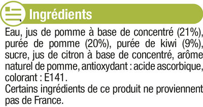 """Jus pomme kiwi """"fruits gourmands """" - Ingredients"""