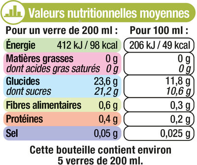"""Jus pomme kiwi """"fruits gourmands """" - Nutrition facts"""