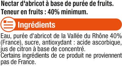 """Jus abricot Vallée du Rhone """"fruits de chez nous"""" - Ingrediënten"""