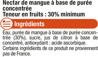 "Jus à la mangue ""fruits gourmands"" - Ingredients - fr"