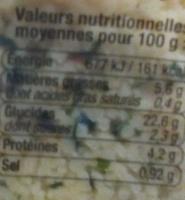 Taboulé à l'Orientale - Voedingswaarden - fr