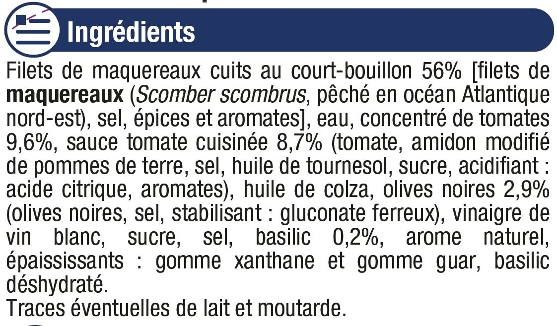 Filets maquereaux sauce tomate basilic olives - Ingredients