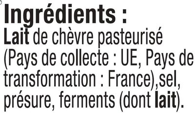 Fromage frais au lait pasteurisé de chèvre 12%MG - Ingredients - fr