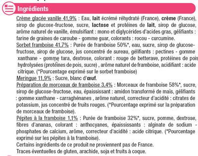 Vacherin glacé vanille framboise - Ingrédients