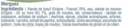 Merguez boeuf mouton forte - Ingrédients - fr
