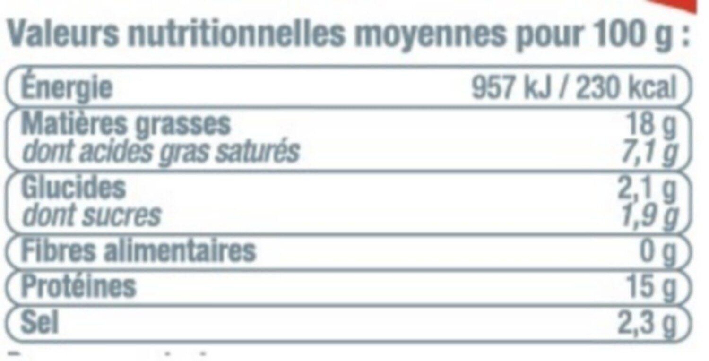 Merguez boeuf mouton forte - Informations nutritionnelles - fr
