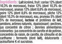 Yaourt 0%MG et allegé en sucres aux fruits - Ingredients