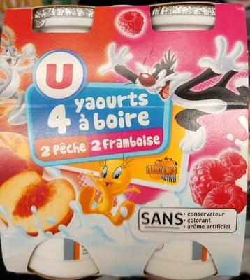 4 yaourts à boire, 2 pêche 2 framboises - Produit - fr