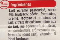 4 yaourts à boire, 2 pêche 2 framboises - Ingrédients - fr