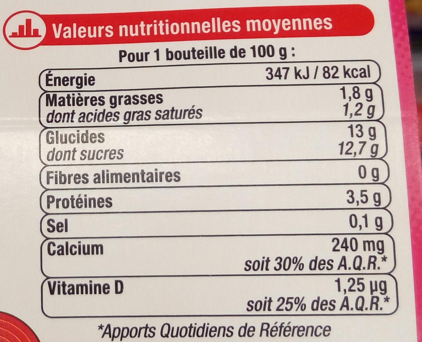 4 yaourts à boire, 2 pêche 2 framboises - Informations nutritionnelles - fr