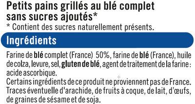 Petits Pains grillés au blé complet sans sucre ajouté - Ingrediënten - fr