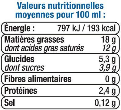 Crème légère semi-épaisse 18% de matière grasse UHT - Informations nutritionnelles - fr