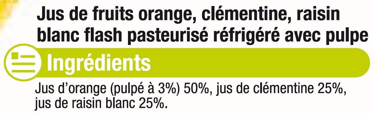 Pur jus réfrigéré orange/clémentine/raisin blanc - Ingredients