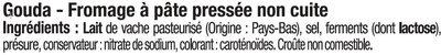 Gouda au lait pasteurisé 30%MG - Ingrédients - fr