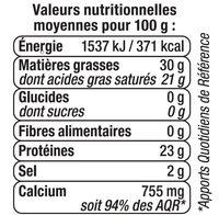 Gouda au lait pasteurisé 30%MG - Nutrition facts