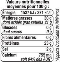 Gouda au lait pasteurisé 30%MG - Informations nutritionnelles - fr