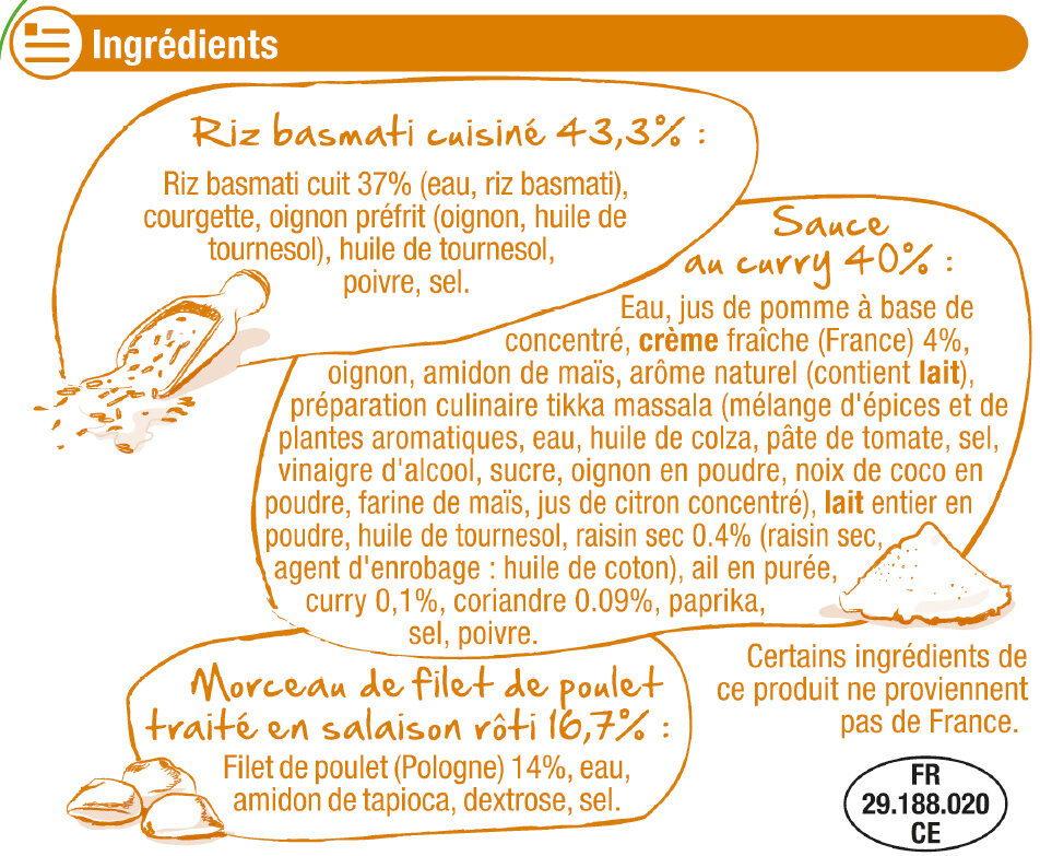 Poulet au curry et riz basmati - Ingrediënten