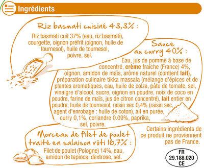 Poulet au curry et riz basmati - Ingrédients - fr