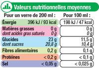 Pur jus de pomme - Nutrition facts - fr