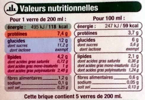 Boisson au Soja Vanille Bio - 1 litre - U - Voedingswaarden - fr