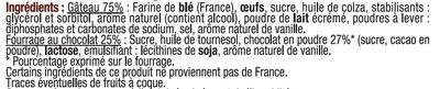 Mini gateaux fourré chocolat - Ingrédients