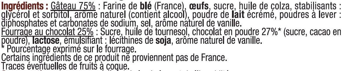 Mini gateaux fourré chocolat - Ingredients