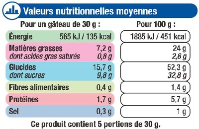 Mini gateaux fourré chocolat - Nutrition facts - fr