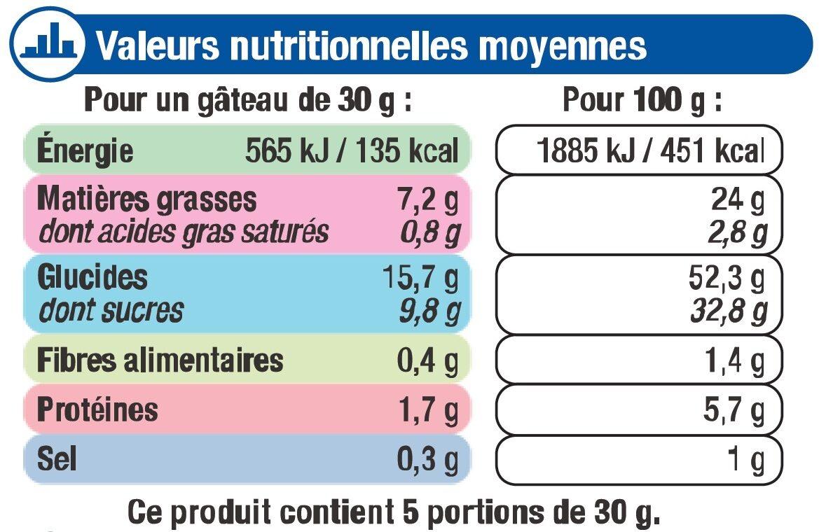 Mini gateaux fourré chocolat - Voedingswaarden - fr