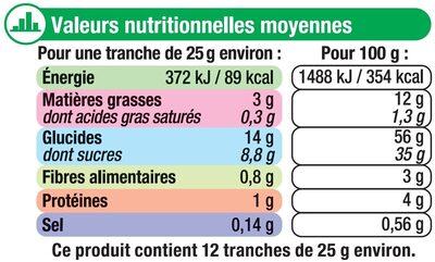 Cake aux fruits - Voedingswaarden - fr