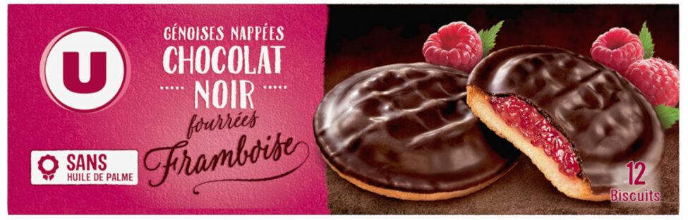 Biscuits fourrés à la framboise nappés de chocolat - Product - fr