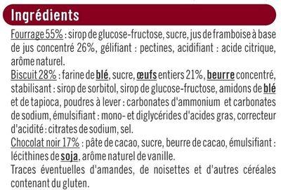 Biscuits fourrés à la framboise nappés de chocolat - Ingredients - fr