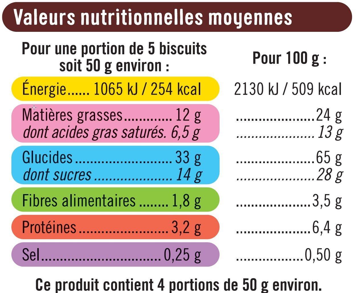 Sablés Nappés au Chocolat Noir - Nutrition facts - fr