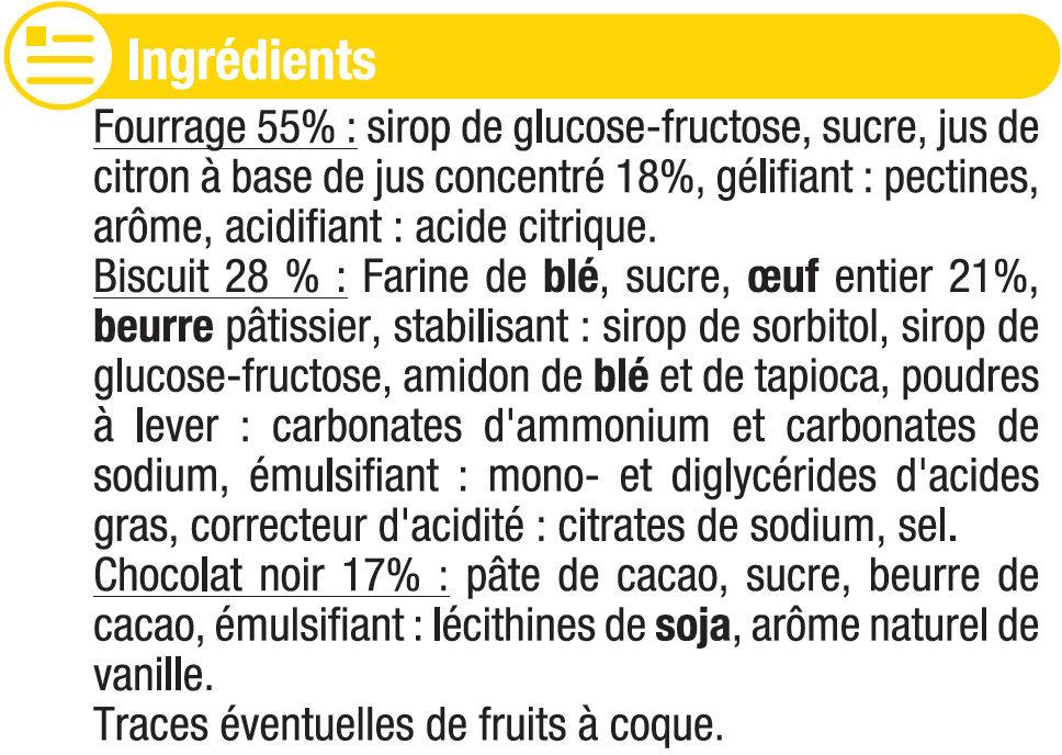 Biscuits fourrés au citron nappés de chocolat - Ingrédients - fr