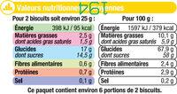 Biscuits fourrés au citron nappés de chocolat - Informations nutritionnelles - fr