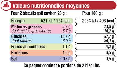 Petit Beurre Tablette Chocolat noir - Informations nutritionnelles