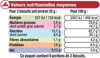 Petit Beurre Tablette Chocolat noir - Nutrition facts - fr