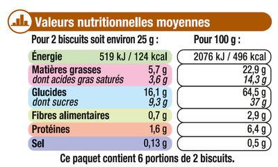 Petit Beurre Tablette Chocolat lait - Informations nutritionnelles