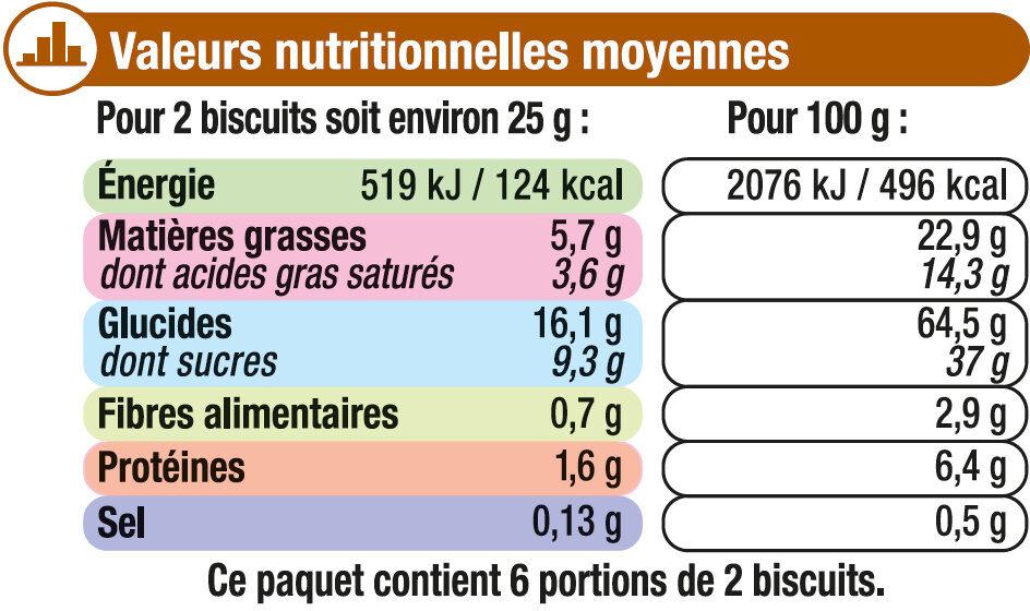 Petit Beurre Tablette Chocolat lait - Voedingswaarden - fr