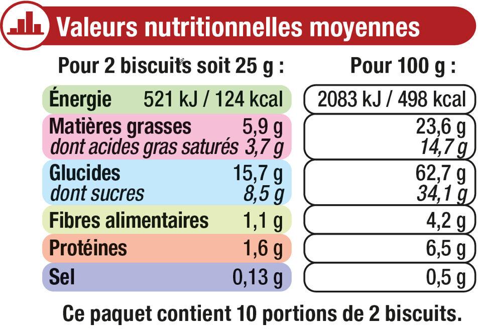 Petit beurre tablette de chocolat noir - Informations nutritionnelles - fr