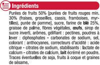 Barres moelleuses fourrées aux fruits rouges - Ingredients