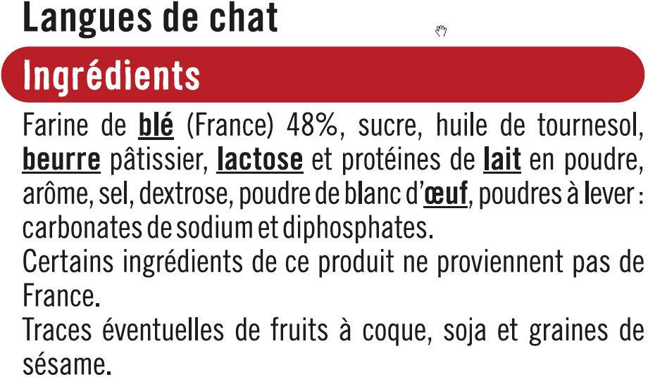 Langue de chat - Ingrédients - fr