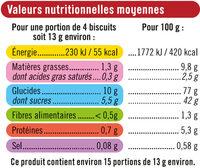 Langue de chat - Valori nutrizionali - fr