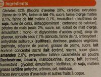 Barre de céréales abricot amande aux 4 céréales - Ingredients
