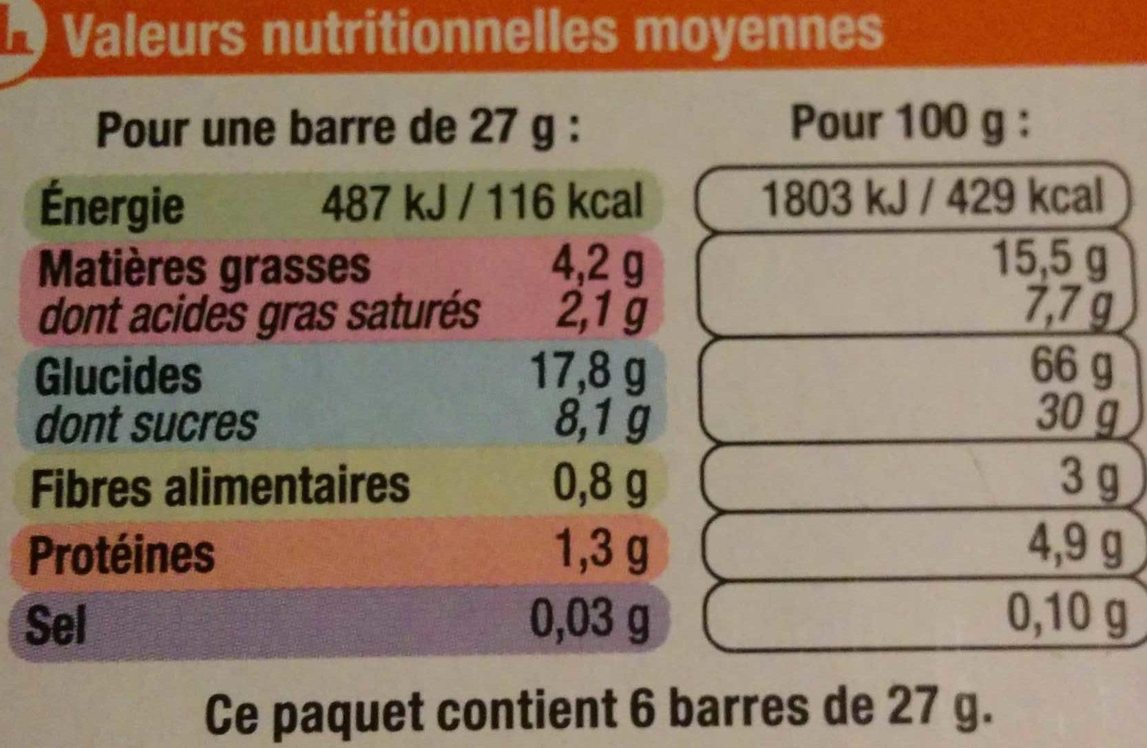 Barre de céréales abricot amande aux 4 céréales - Nutrition facts